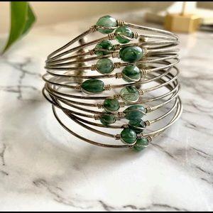 silver & green stone cuff brace